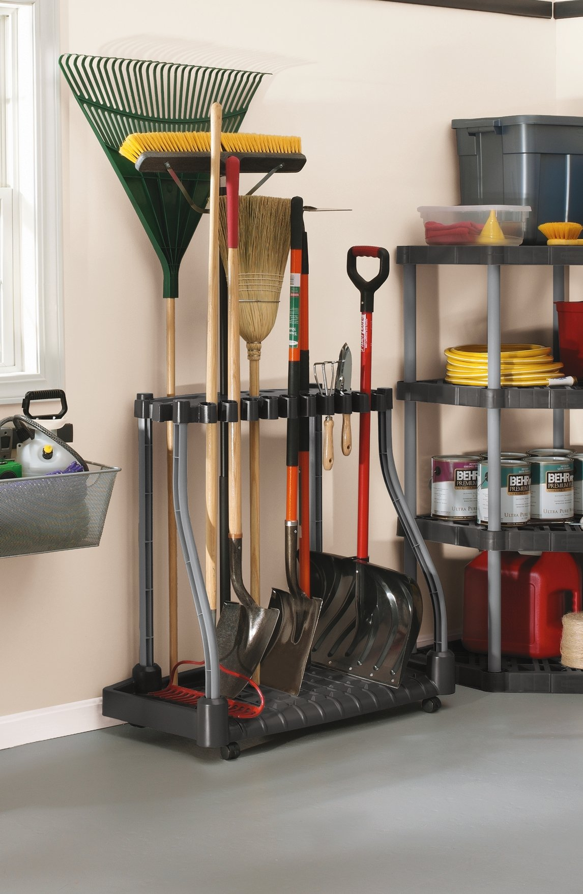 Rubbermaid Deluxe Tool Tower, Garage Storage, Holds 40 Tools, Black (FG5E2800MICHR) by Rubbermaid