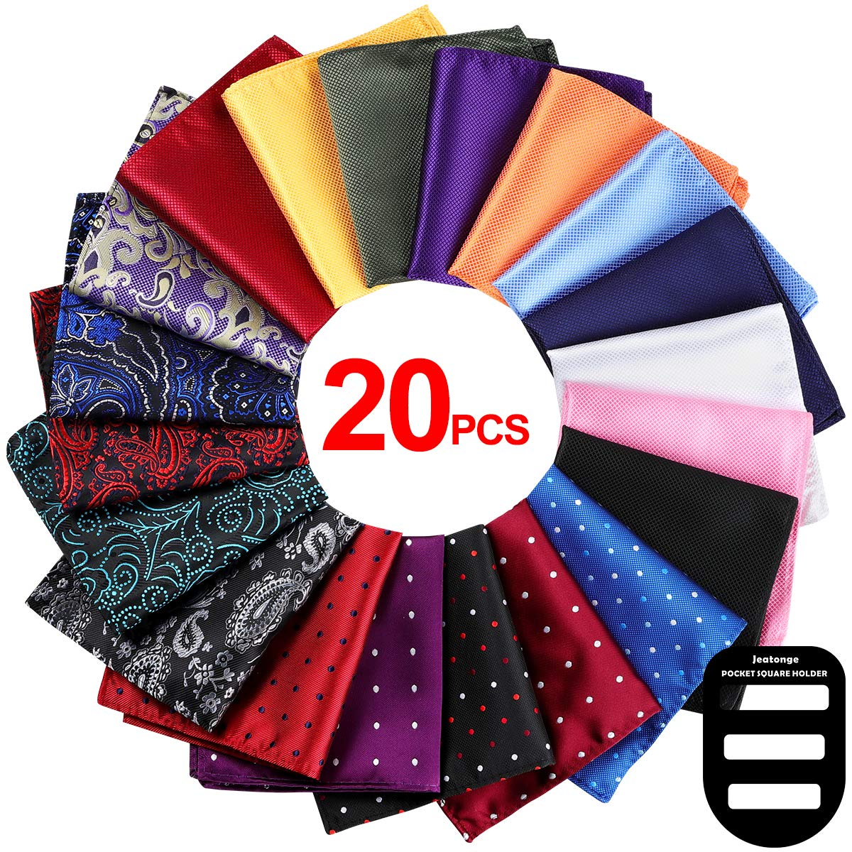 a1c97416bbdb3 Pocket Squares for Men 20 Pack Mens Pocket Squares Sets Assorted Colors  with Gift Box product