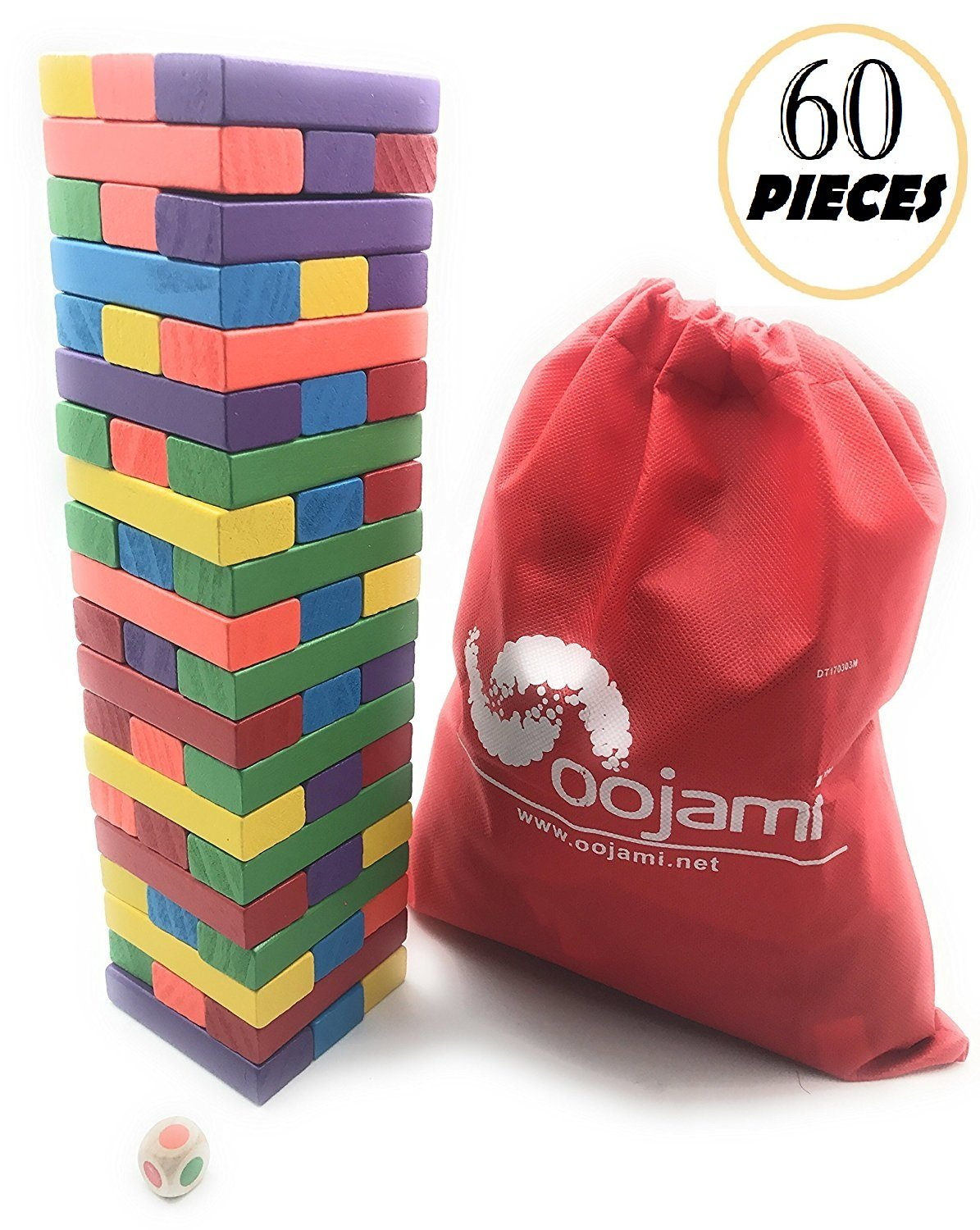 Wooden Toppling Tumbling Stacking Tower Board Games Building Blocks for Kids - 60 pieces