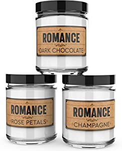 Scented Candles - Romance -Decorative Aromatherapy - Handmade in The USA with Only The Best Fragrance Oils - 3 x 4-Ounce Soy Candles