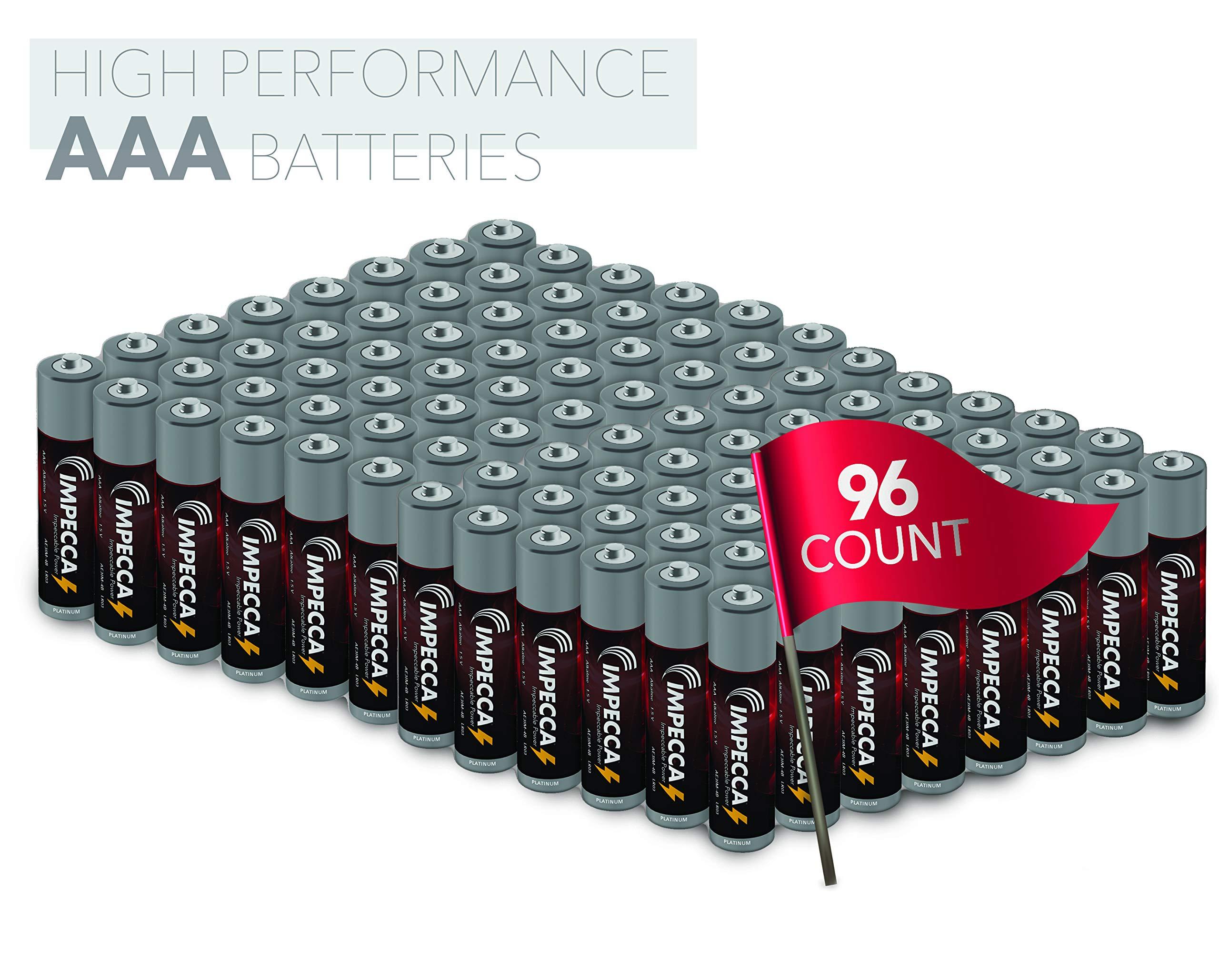 Impecca AAA Alkaline Batteries, High Performance AAA Battery, 10 Year Long Lasting Shelf Life, 96 Pack, LR3, Platinum