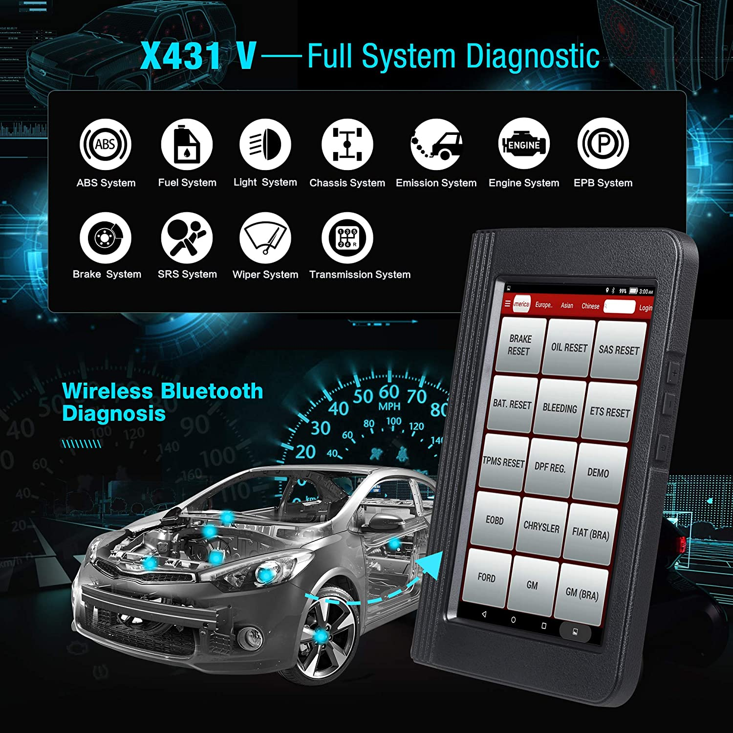 LAUNCH X431 V Pro (Same Function with X431 V+) Bidirectional Scanner Full System Bidirectional Control Scan Tool OBD Diagnostic with Relearn Reset ...