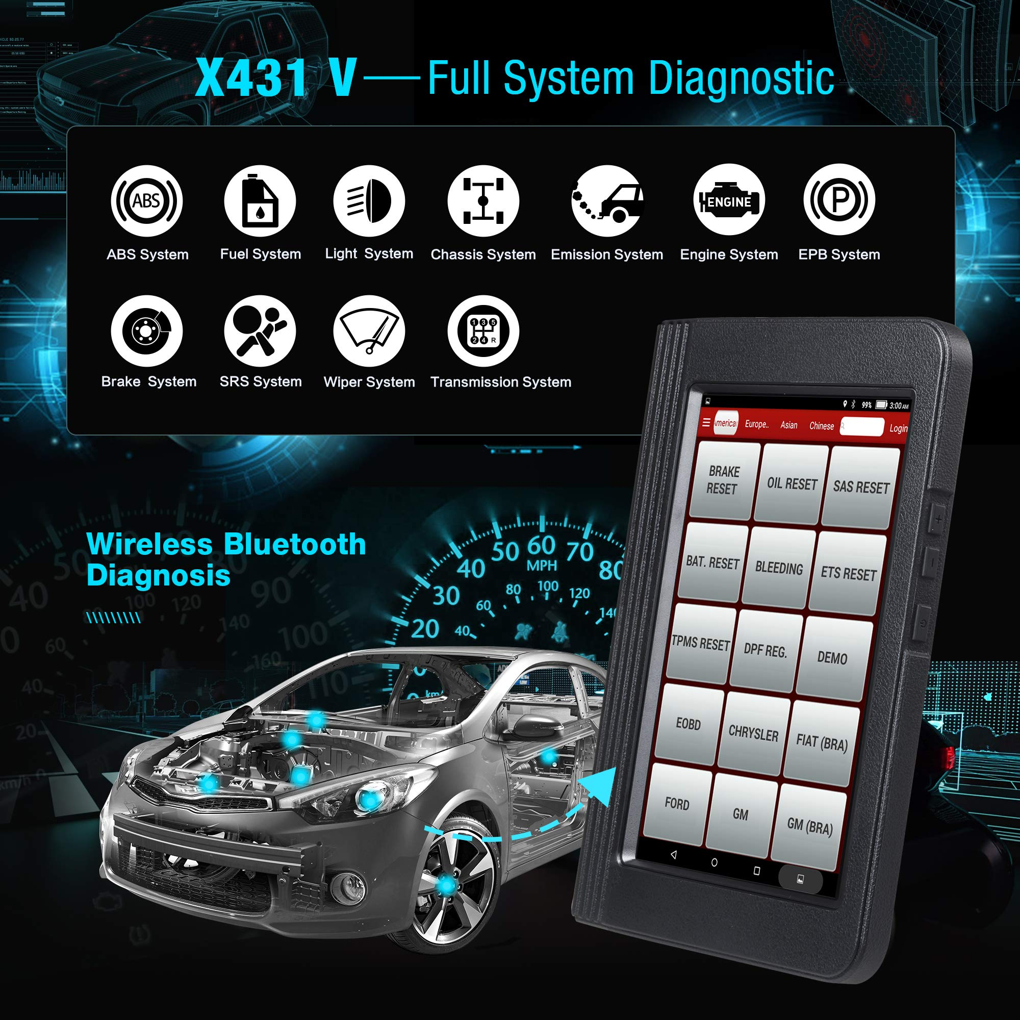 LAUNCH X431 V (Same Function with X431 V+) Bi-Directional Bluetooth Scan Tool Full System OBD2 Diagnostic Scanner with ECU Coding,Key Fob Programming, TPMS Reset, IMMO, SAS, DPF, EPB, ABS Bleeding by LAUNCH (Image #2)