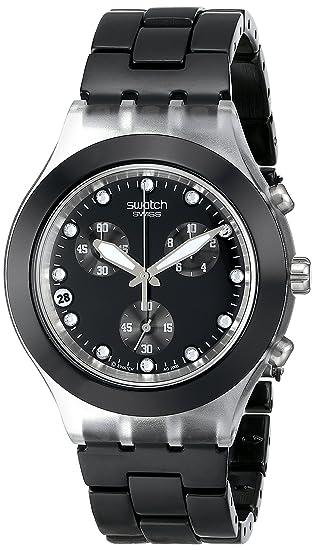 Swatch SVCK4035AG - Reloj cronógrafo de cuarzo para mujer con correa de aluminio, color negro: Amazon.es: Relojes