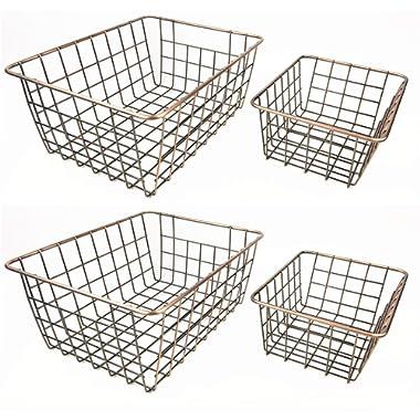 SINARDO Wire Storage Basket Organizer Bin Baskets for Kithen Cabinets Freezer Bedroom Bathroom (4, Bronze)