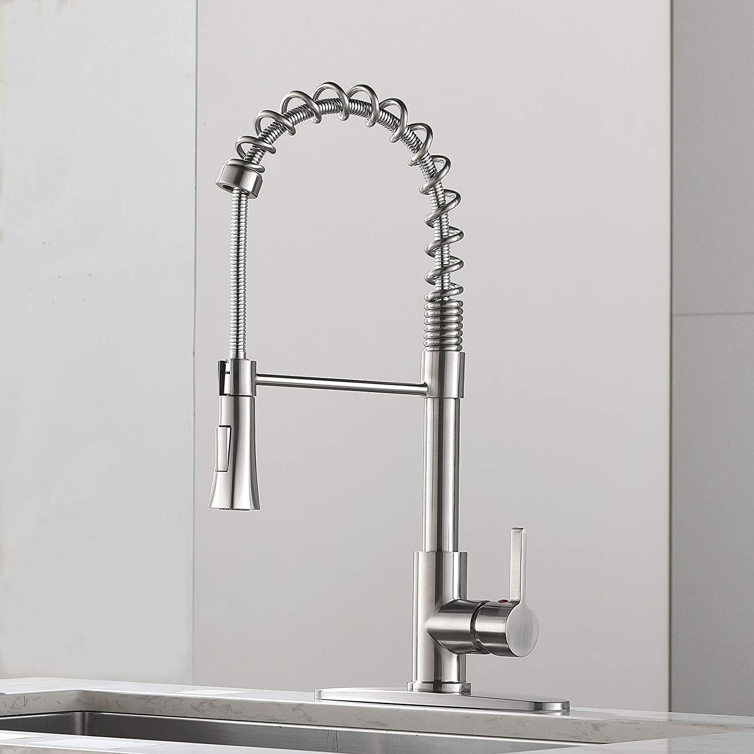 VAPSINT Modern Commercial Lead Free Spring Pull Down Sprayer Brushed Nickel Single Handle Kitchen Faucet, Kitchen Sink Faucets with Deck Plate