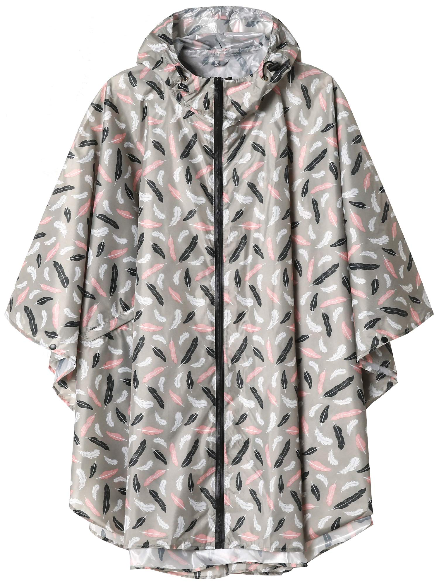 Unisex Waterproof Rain Poncho Coat with Pockets Grey Feather by SaphiRose