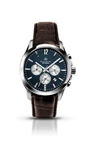 558f2ee69 Accurist Men's Quartz Watch with Blue Dial Chronograph Display and Brown  Leather Strap 7116