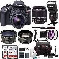 Canon EOS Rebel T6 Digital Camera: 18 Megapixel 1080p HD Video DSLR Bundle with 18-55mm Lens TTL Flash 48GB SD Card Mini Tripod Filter Kit & Charger - Professional Vlogging Sports & Action Cameras