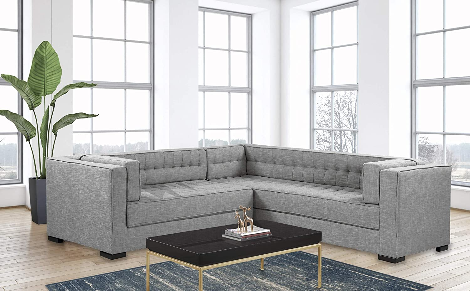Iconic Home Lorenzo Left Facing Sectional Sofa L Shape Linen-Textured Upholstered Tufted Shelter Arm Design Espresso Finished Wood Legs Modern Transitional, Platinum