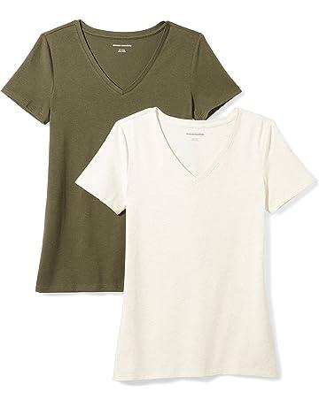 b594e24d866a0f Amazon Essentials Women s 2-Pack Short-Sleeve V-Neck T-Shirt