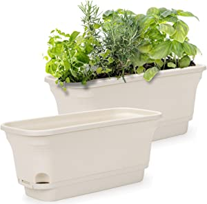 Self Watering Rectangular Flowerpot and Windowsill Herb Garden Planter, Set of 2, Decorative Pots for Plants, Succulents or Flowers