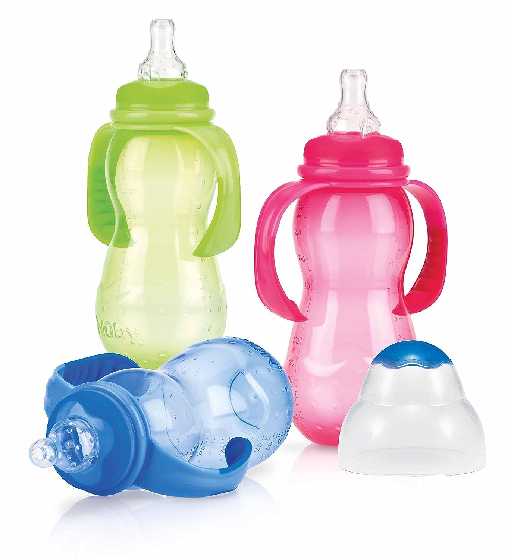 Nû by 1093 - Standardflasche aus Polypropylen 300ml mit Griff und auslaufsicherem Sauger aus Silikon fü r variablen Trinkfluss, ab 4 Monate, Farbe nicht frei wä hlbar Nûby ID1093