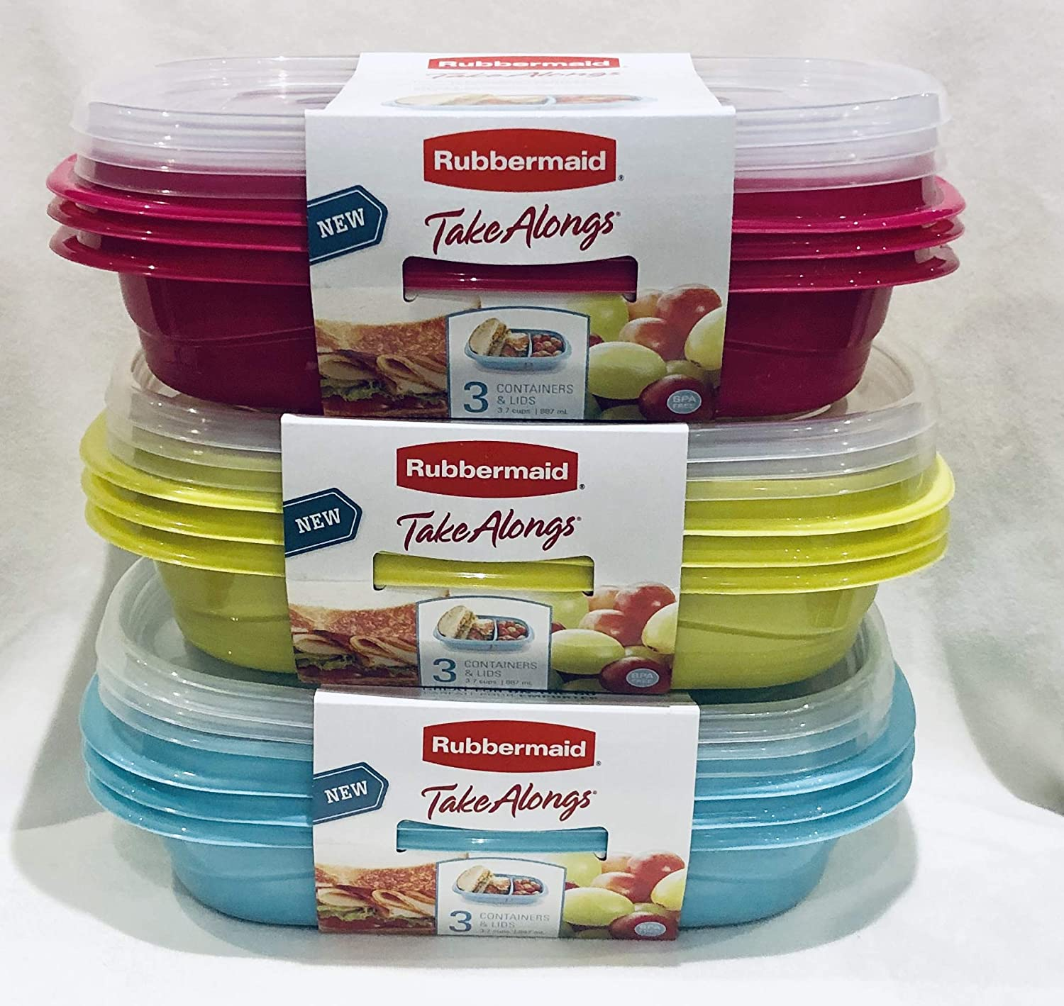 Rubbermaid TakeAlongs 18-Piece Set Divided-Base Meal Prep Food Storage Containers (9 Bases + 9 Lids) 3.7 cups TROPICAL PINK/TEAL/CITRON