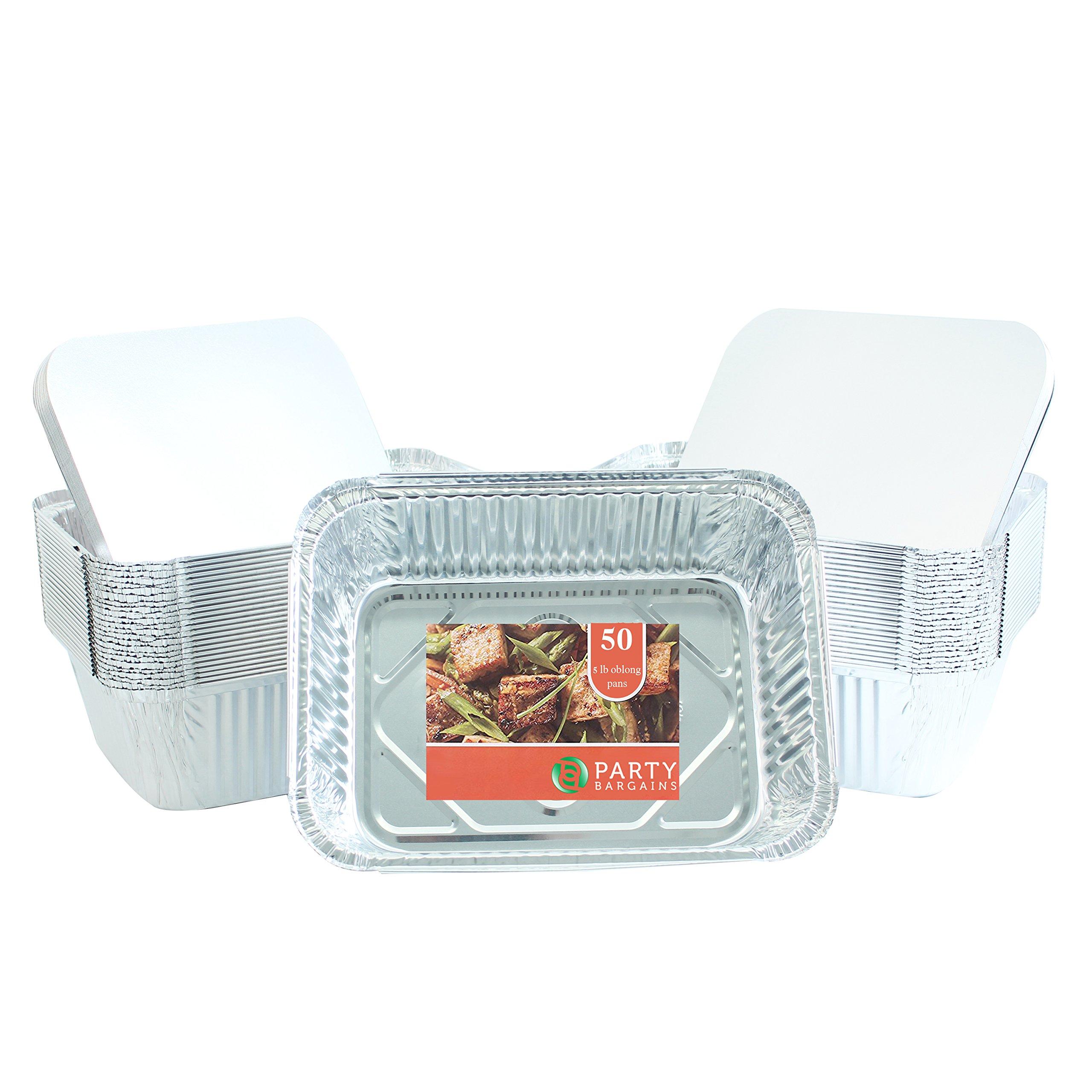Party Bargains Premium Quality Durable, 9 X 7 Aluminum Foil Pans 5 Lb Capacity with Board Lids (50 Count) by Party Bargains (Image #1)