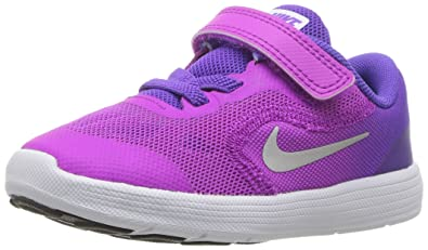 91e9bb228c Nike Kids' Revolution 3 (TDV) Running Shoe, Violet/Metallic Silver/