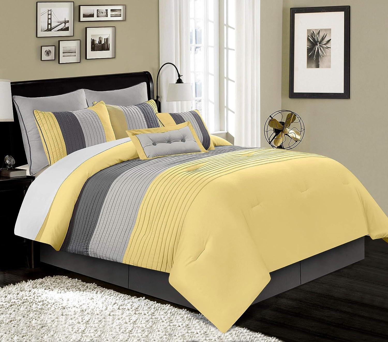 Chezmoi Collection Loft 8-Piece Luxury Striped Comforter Set (Queen, Yellow/Gray/Paloma)