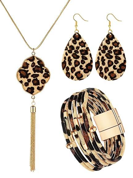 Hicarer Conjunto de 3 Piezas Joyer/ías de Leopardo Pulseras de Cuero de Leopardo Collar Pendientes de Colgante para Mujeres