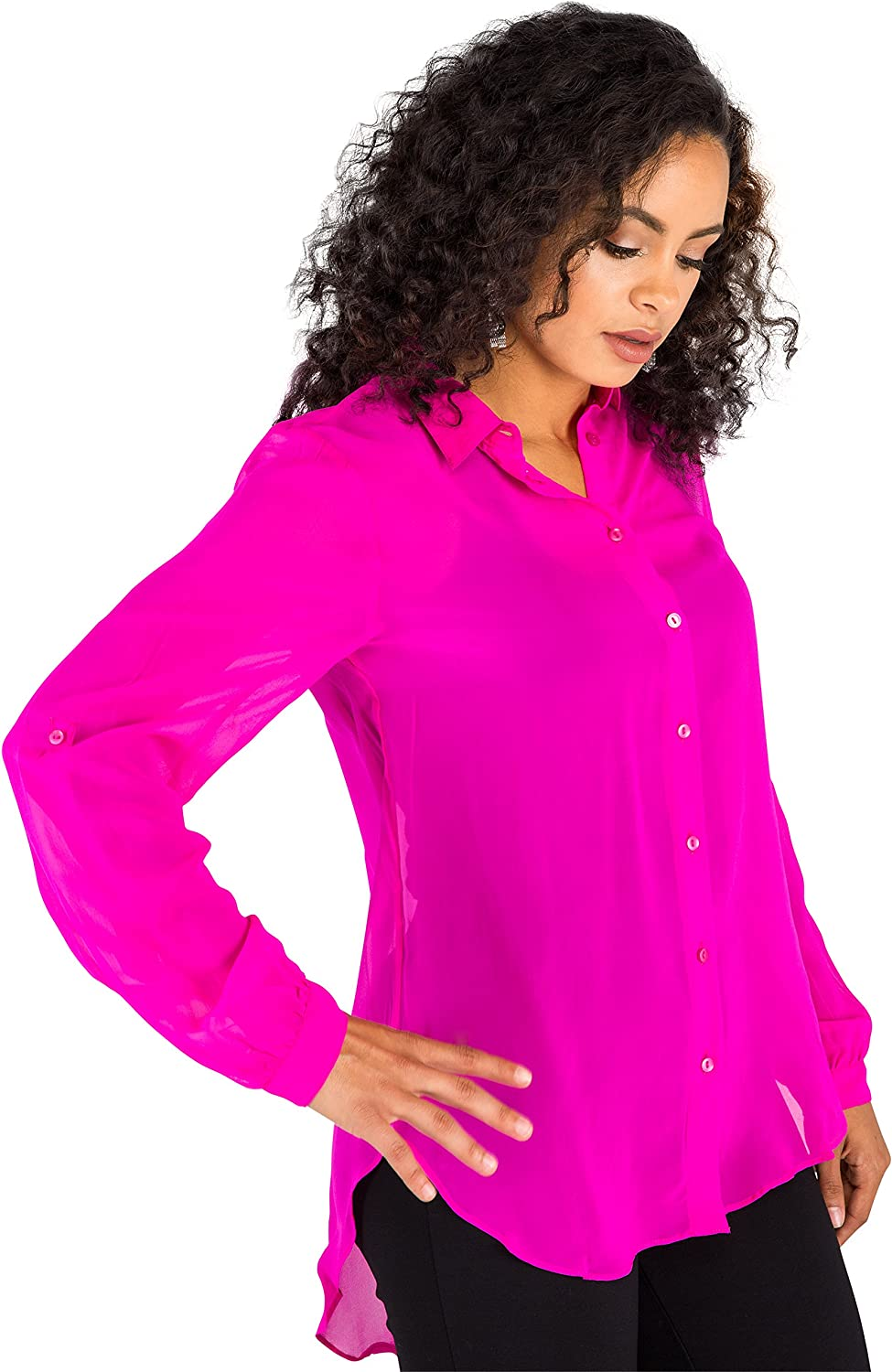 Poetic Justice Women's Pink 100% Silk Georgette Button Down Long Sleeve Blouse