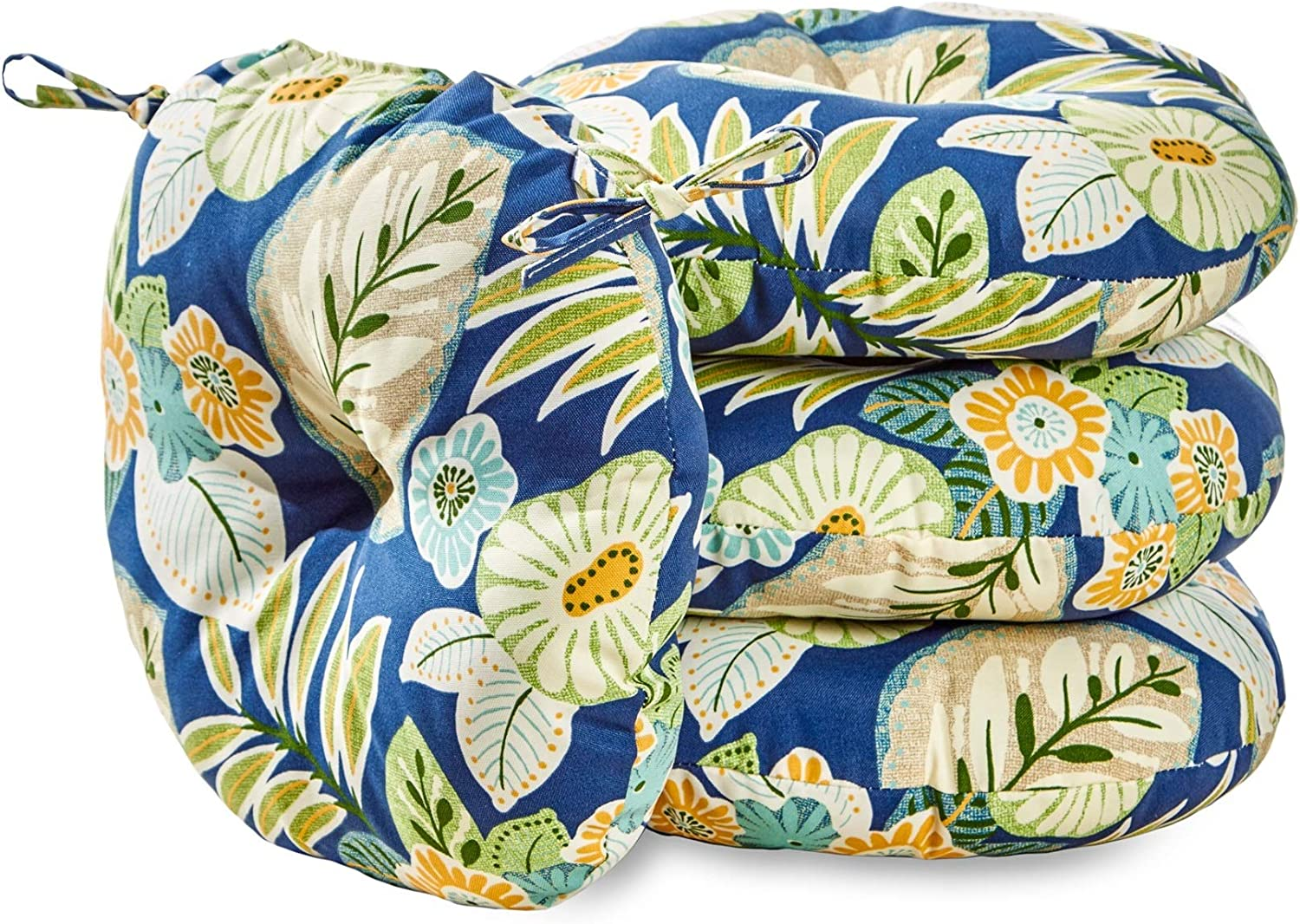 South Pine Porch AM6817S4-MARLOW Marlow Blue Floral 18-inch Round Outdoor Bistro Chair Cushion, Set of 4