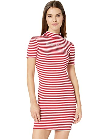 5e540c164866 bebe Women's Short Sleeve, Mock Neck Striped Logo Dress with V-Back Detail