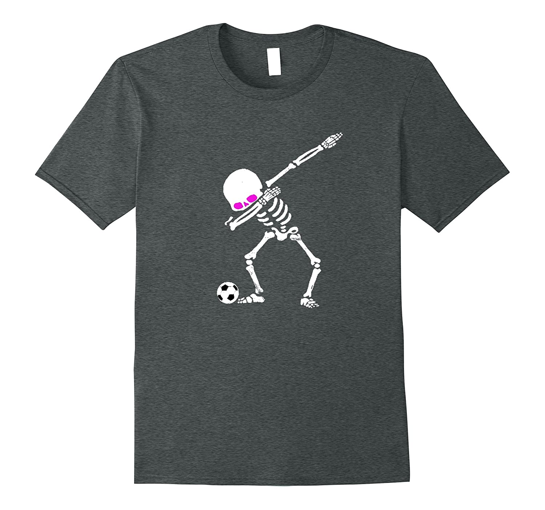Dabbing Soccer Playing Halloween Skeleton T-Shirt-ANZ