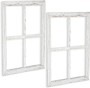 Ilyapa Window Frame Wall Decor 2 Pack - Large 18x22 Inch Rustic White Wood Window Pane Country Farmhouse Decorations