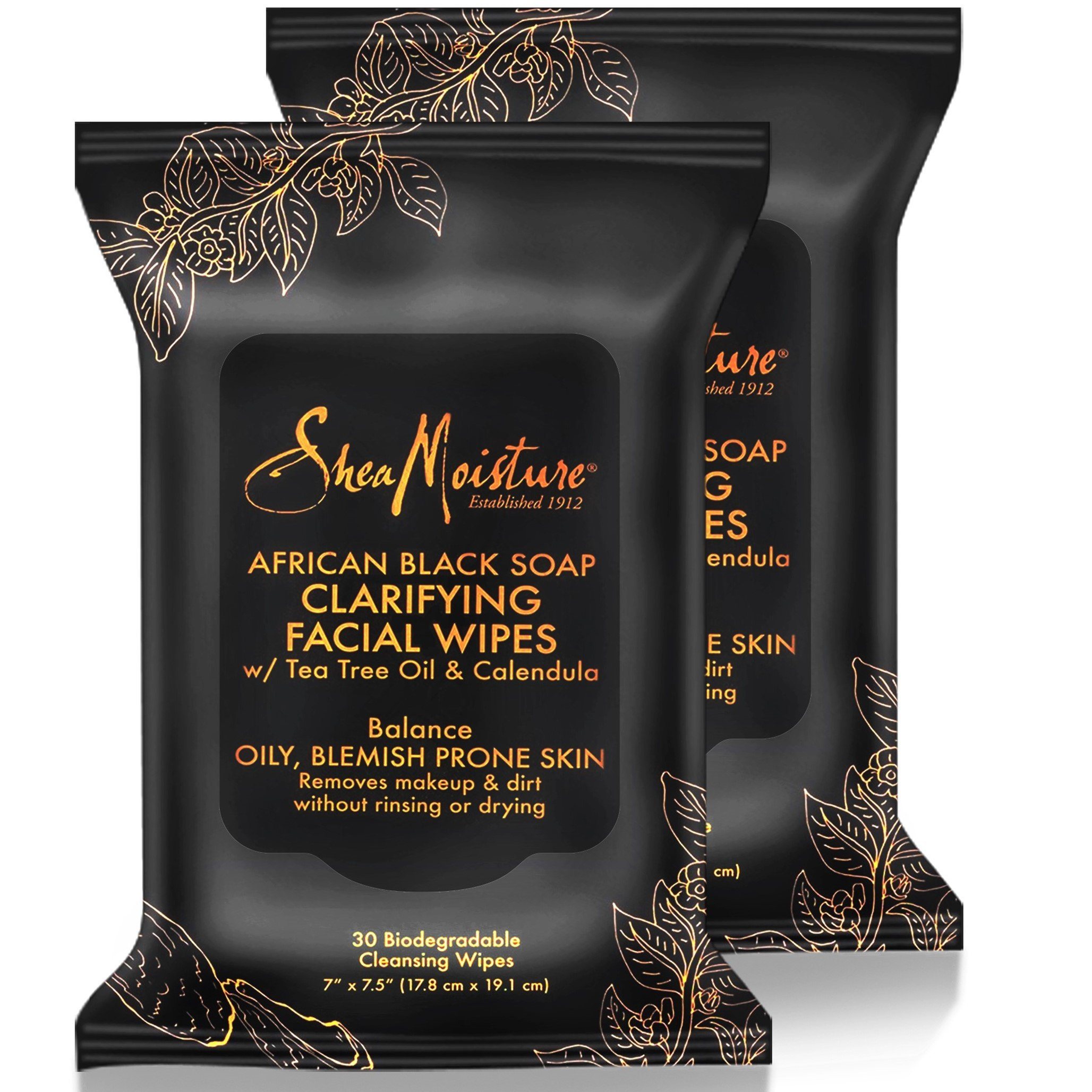 Shea Moisture Makeup Remover Face Wipes, African Black Soap, With Tea Tree Oil & Calendula, Removes Makeup & Dirt to Clarify Oily Blemish Prone Skin, Pack of 2; 30 Wipes Per Pack