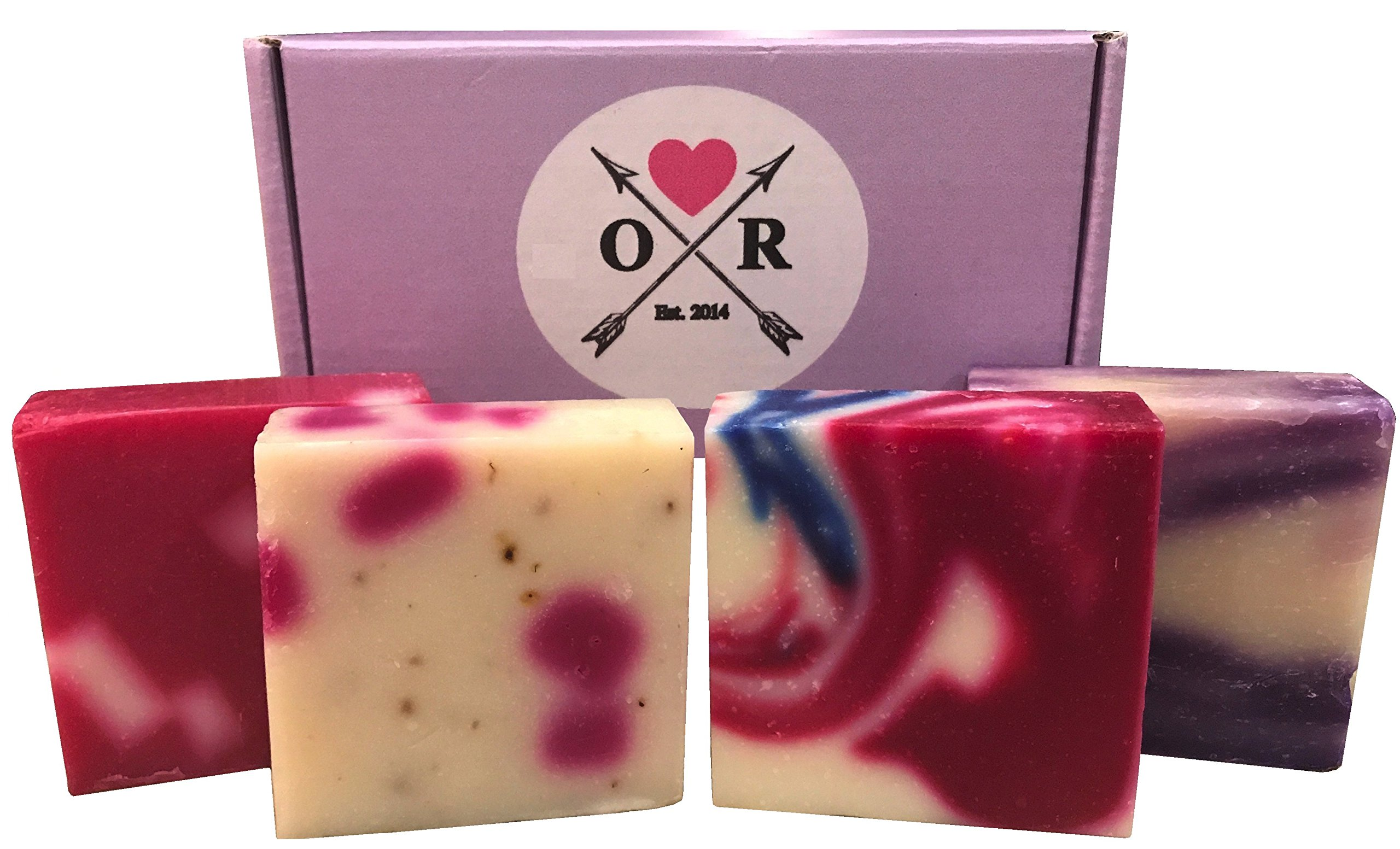 Oliver Rocket Handcrafted Soap Gift Set (4 bar set) - 5 ounces each - Face & Body Soap - Lavender, Petal Dance, Wild Passion & Raspberry Rush - Made in USA with Organic Shea Butter