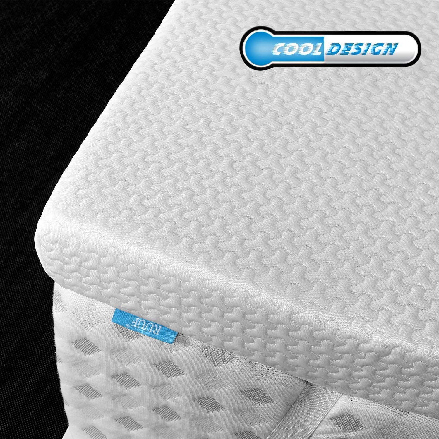 RUUF Mattress Topper Twin XL, 3 Inch High Density Memory Foam Topper with Removable Cooling Cover, Medium-Soft Bed Topper Twin Extra Long Size for Dorm Bed