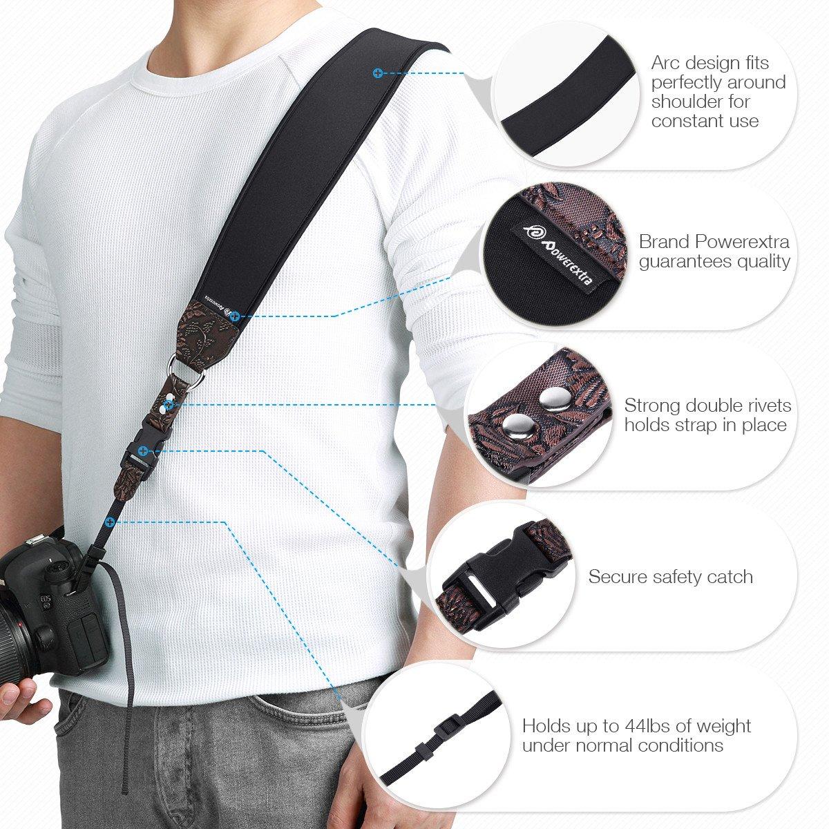 Powerextra カメラネックショルダーストラップとリストストラップ クイックリリースと安全テザー Nikon Sony Olympus Pentax 富士フィルム パナソニック キヤノン カメラ SLR デジタル一眼レフカメラ用 B07GP8MWJT