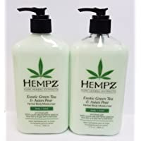 Hempz Exotic Herbal Body Moisturizer, Green Tea and Asian Pear,- Pack of 2 (17oz) + Buy 3 Pack get FREE 4 Fanta Sea Disposable Head Bands