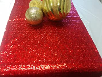 ShinyBeauty 12x90Inch (30cmx225cm) Red Sequin Table Runner On Sale
