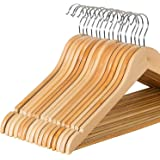 Zober Solid Wood Suit Hangers - 20 Pack - with Non Slip Bar and Precisely Cut Notches - 360 Degree Swivel Chrome Hook - Natural Finish Super Sturdy and Durable Wooden Hangers