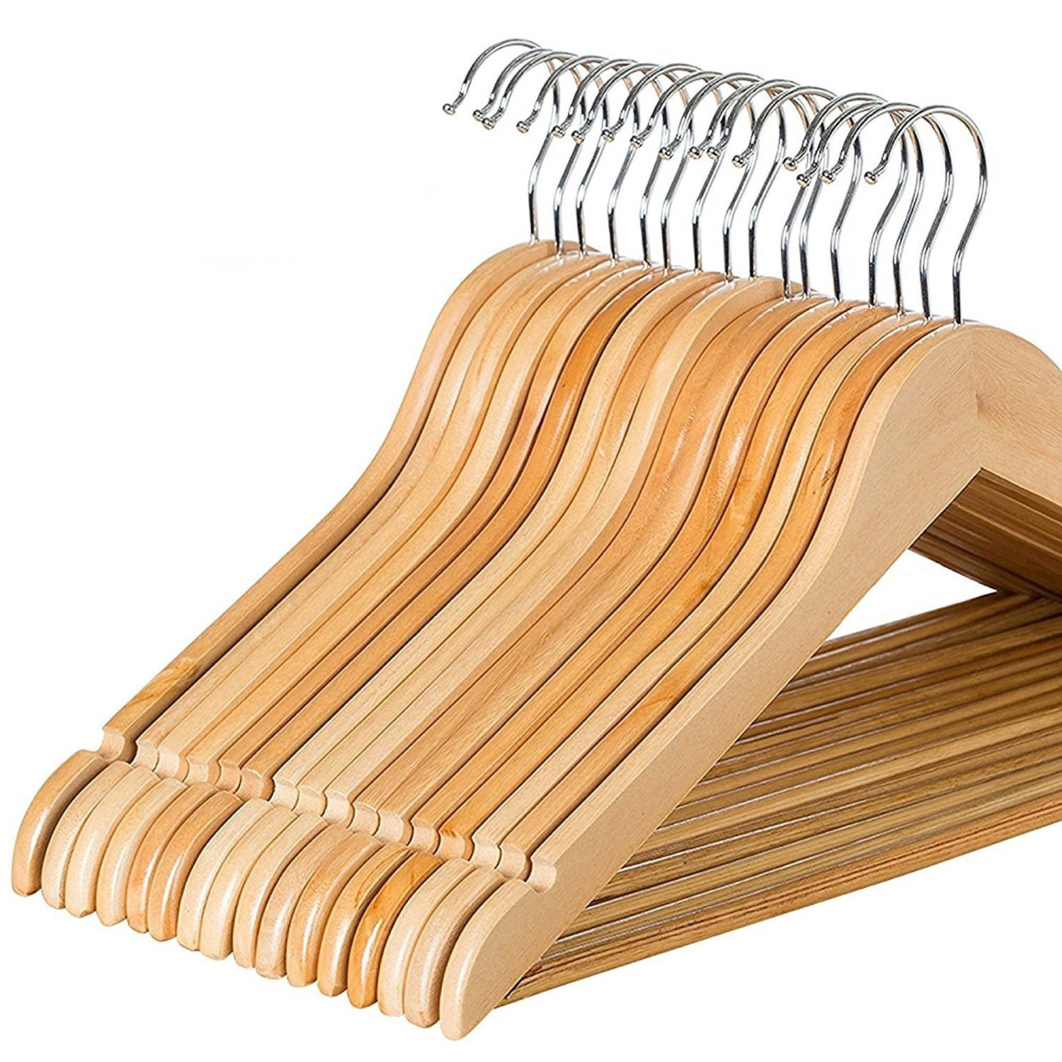 Zober Solid Wood Suit Hangers 20 Pack With Non Slip Bar And Precisely Cut Notches 360 Degree Swivel Chrome Hook Natural Finish Super Sturdy