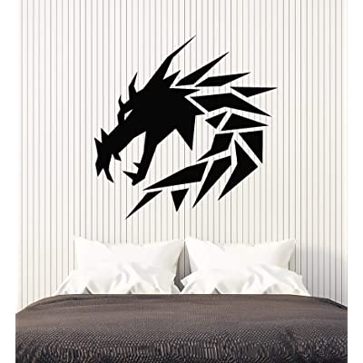 Vinyl Wall Decal Geometric Dragon Mythology Kids Room Stickers Mural Large Decor (g2328) Black: Home & Kitchen