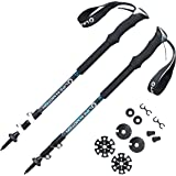 Trekking poles / Hiking poles / Walking poles - lightweight aerospace aluminum - collapsible and adjustable with telescoping shafts - perfect for hiking, walking, backpacking or snowshoeing