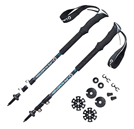 Trekking poles Hiking poles Walking poles – lightweight aerospace aluminum – collapsible and adjustable with telescoping shafts – perfect for hiking, walking, backpacking or snowshoeing