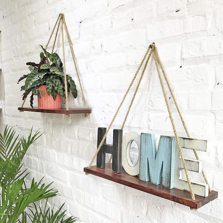 Clear Forest Set of 2 Rustic Wooden Hanging Shelves for Boho Wall Decor for Living Room Bedroom Dorm Bathroom Kitchen