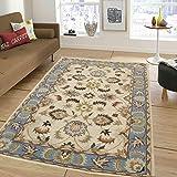 Naz Carpet Industries Handmade Persian Superfine Wool Carpet 150X240Cms 5Feet By 8 Feet (Ivory & Blue)