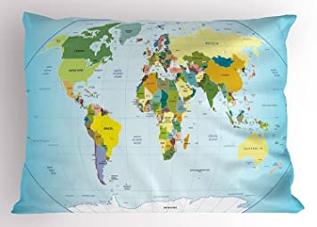 UCKPICASE World Map Pillow Sham, World Map with Countries and ...