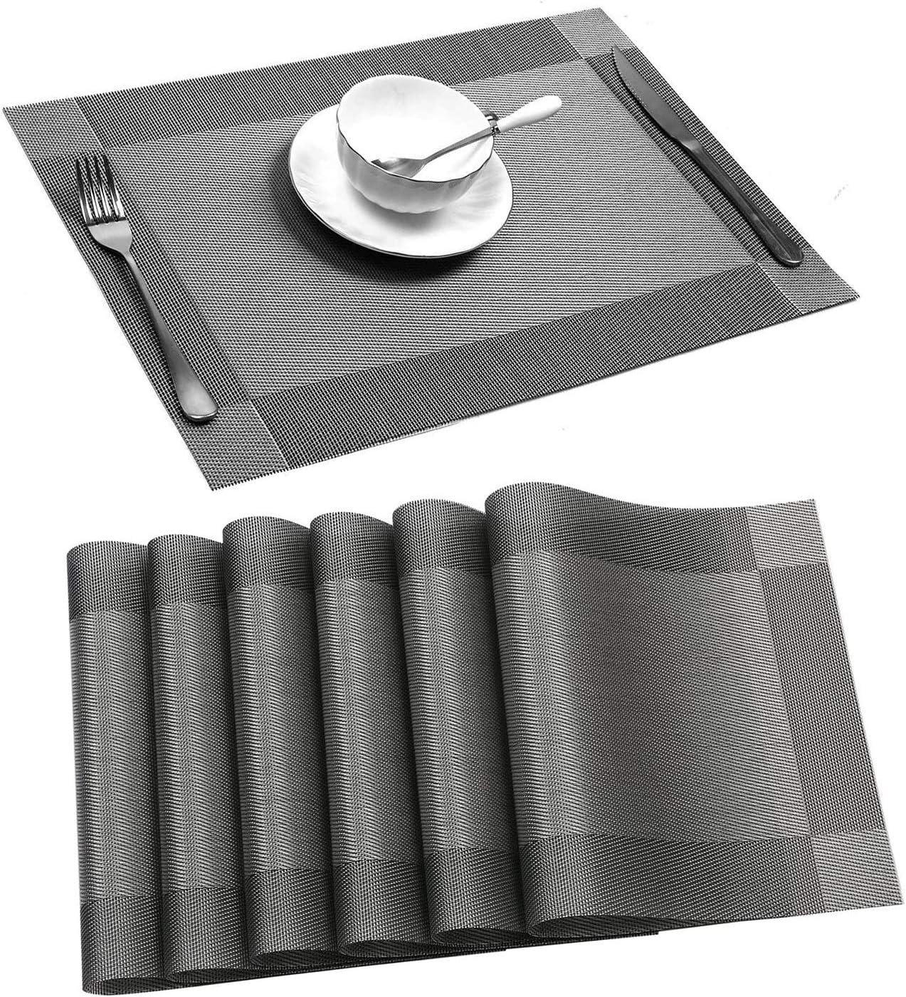 Hauswahl Placemats, Heat-Resistant Placemats Stain Resistant Anti-Skid Washable PVC Table Mats Woven Vinyl Placemats (B-Grey-6pcs)