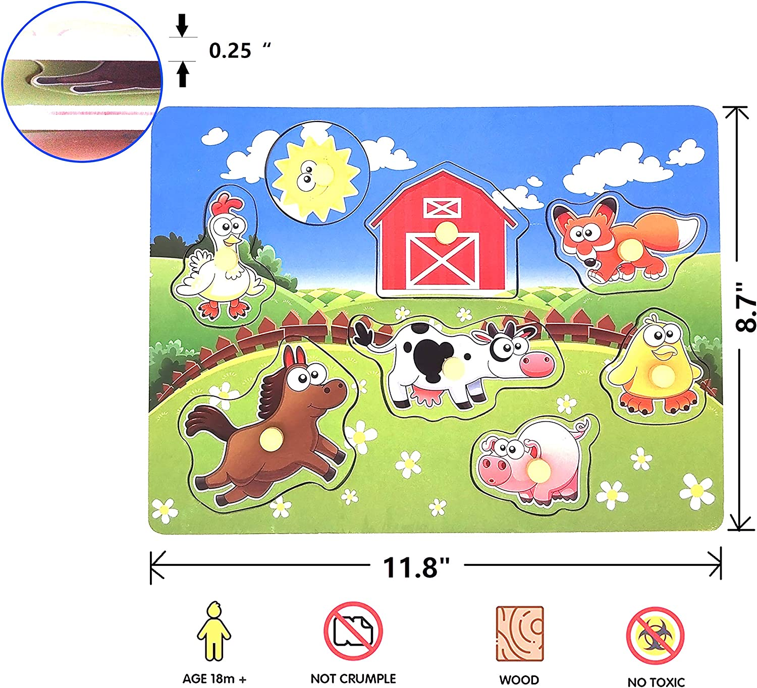 8 Pieces Wooden Peg Puzzle Farm Chunky Baby Puzzles Animal Knob Puzzle for Educational Toddlers 1,2,3,4 Yeas Old Full-Color Pictures Wood Shape Puzzle Peg Board