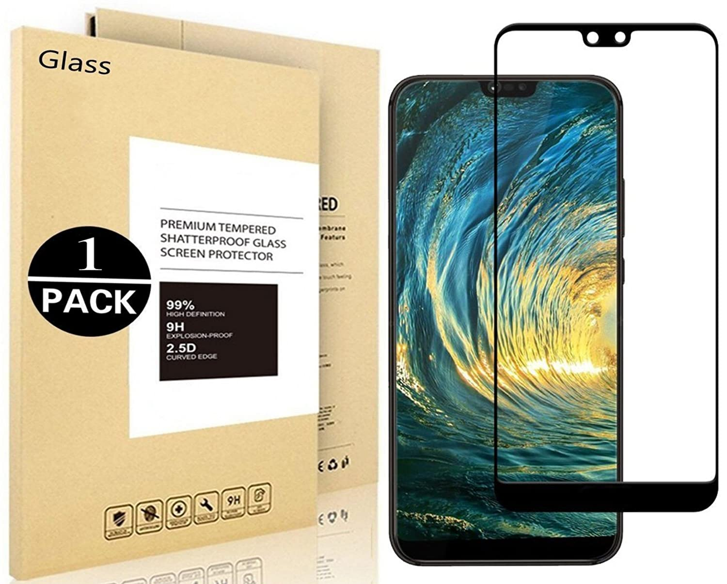 Huawei P20 Protective films, Vigeer [1 Pack] [0,3mm, 2,5D] [Bubble free] [9H hardness] [Easy to install] [HD Clear] Hardened glass screen protector for Huawei P20