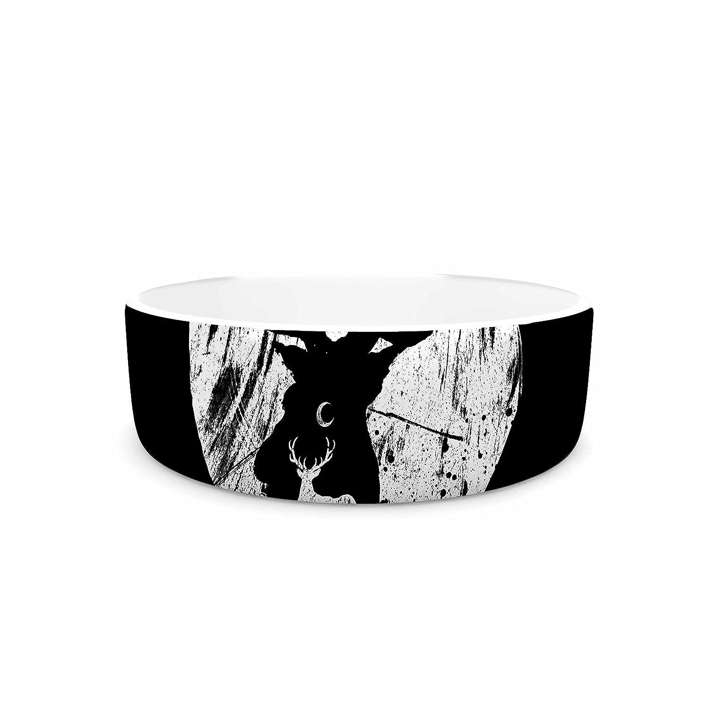 KESS InHouse BarmalisiRTB Deer at Night Black White Digital Pet Bowl, 7  Diameter