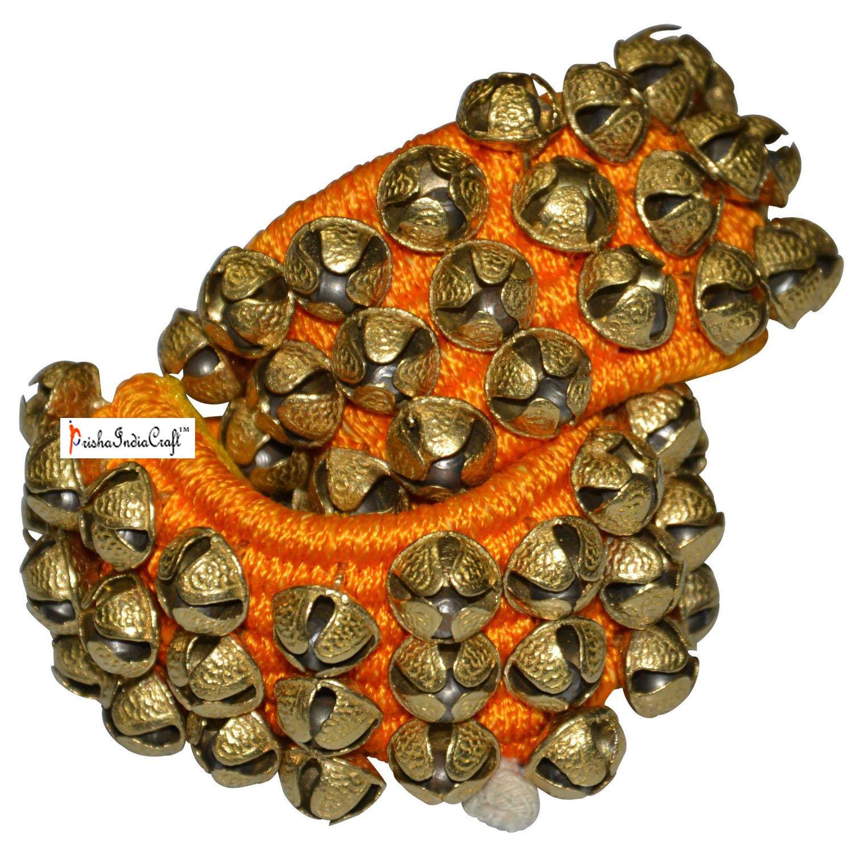 Prisha India Craft ® Kathak Ghungroo (16 No. Ghungroo) Best Quality 3 Line Big Dancing Bells Ghungroo Pair Handmade Indian Classical Dance Accessories Ghungru Yellow Pad