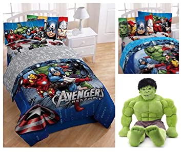 Marvel Avengers Complete Full Size Bedding Comforter Set With Hulk Pillow  Buddy