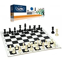 WE Games Best Value Tournament Chess Set - Filled Chess Pieces and Black Roll-Up Vinyl Chess Board
