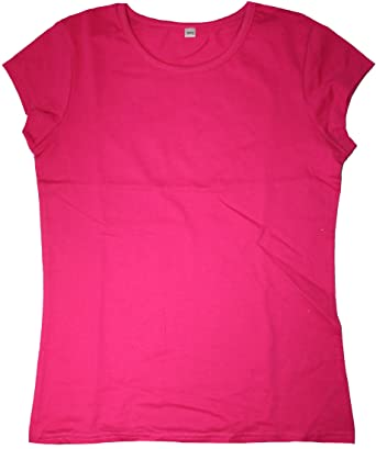 Plain Hot Pink Cotton Rich Fitted T-Shirt: Amazon.co.uk: Clothing