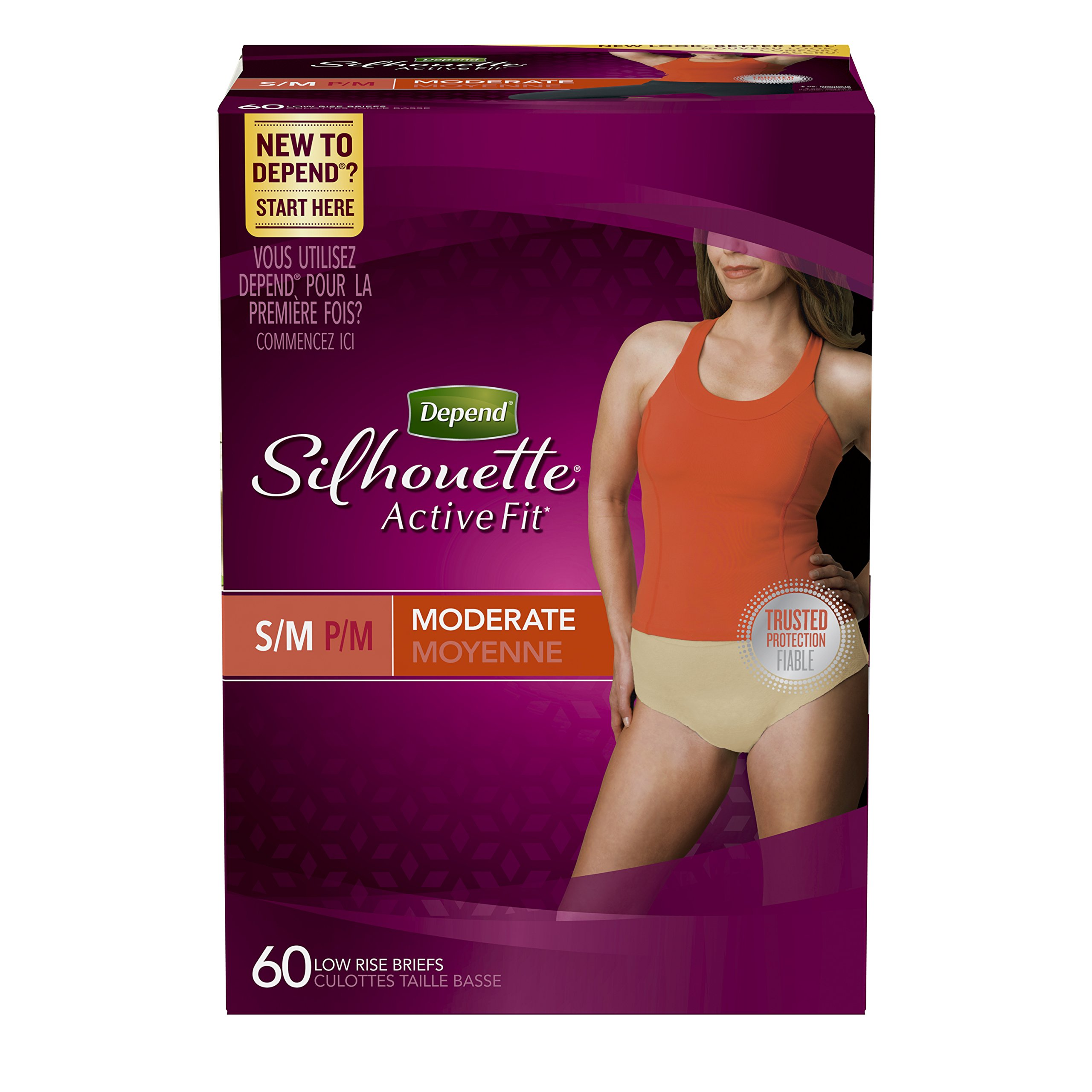 Depend Silhouette Active Fit Incontinence Underwear for Women, Moderate Absorbency, S/M, Beige, 60 Count